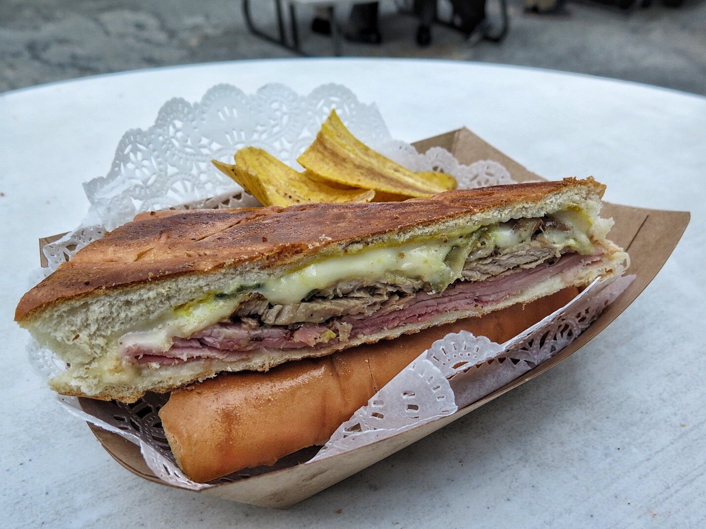 The Cuban sandwich right off of the press at Buena Gente. PHOTOGRAPH BY JENNIFER ZYMAN.